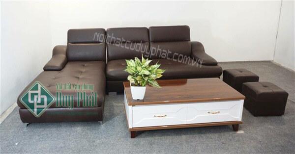 Mẫu sofa nửa da với thiết kế đơn giản