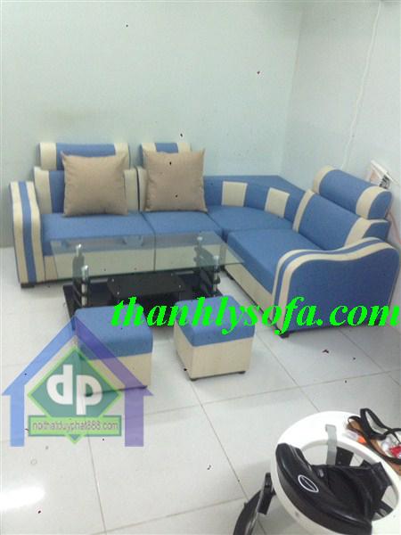 Thanh lý sofa Thanh Xuân góc bọc da xanh cốm mới 100%