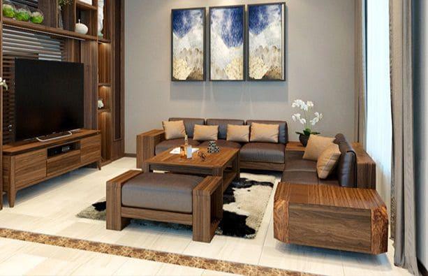 Mẫu thiết kế ghế sofa phòng khách chất liệu da thật cao cấp